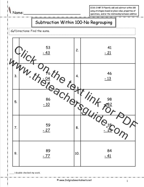 small resolution of CCSS 2.NBT.5 Worksheets. Two Digit Addition and Subtraction Within 100  Worksheets.