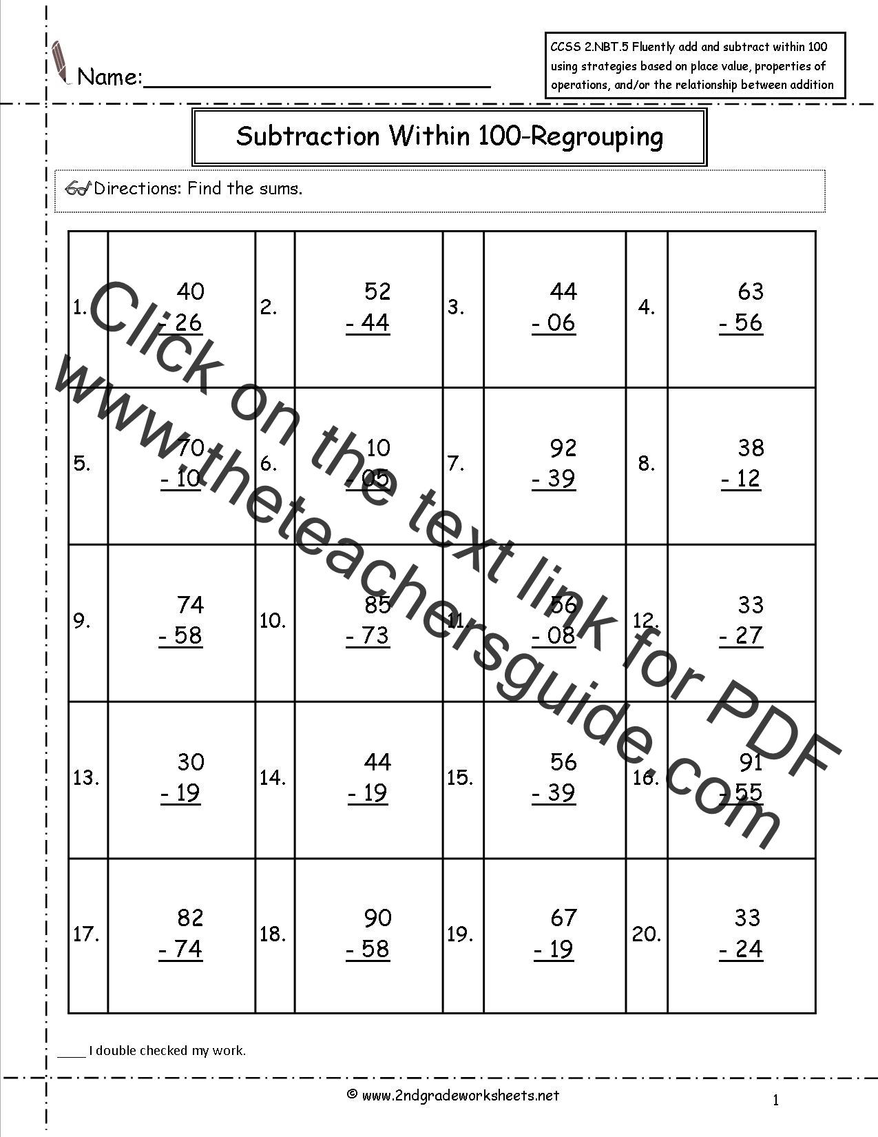 Free Addition Fluency Worksheets