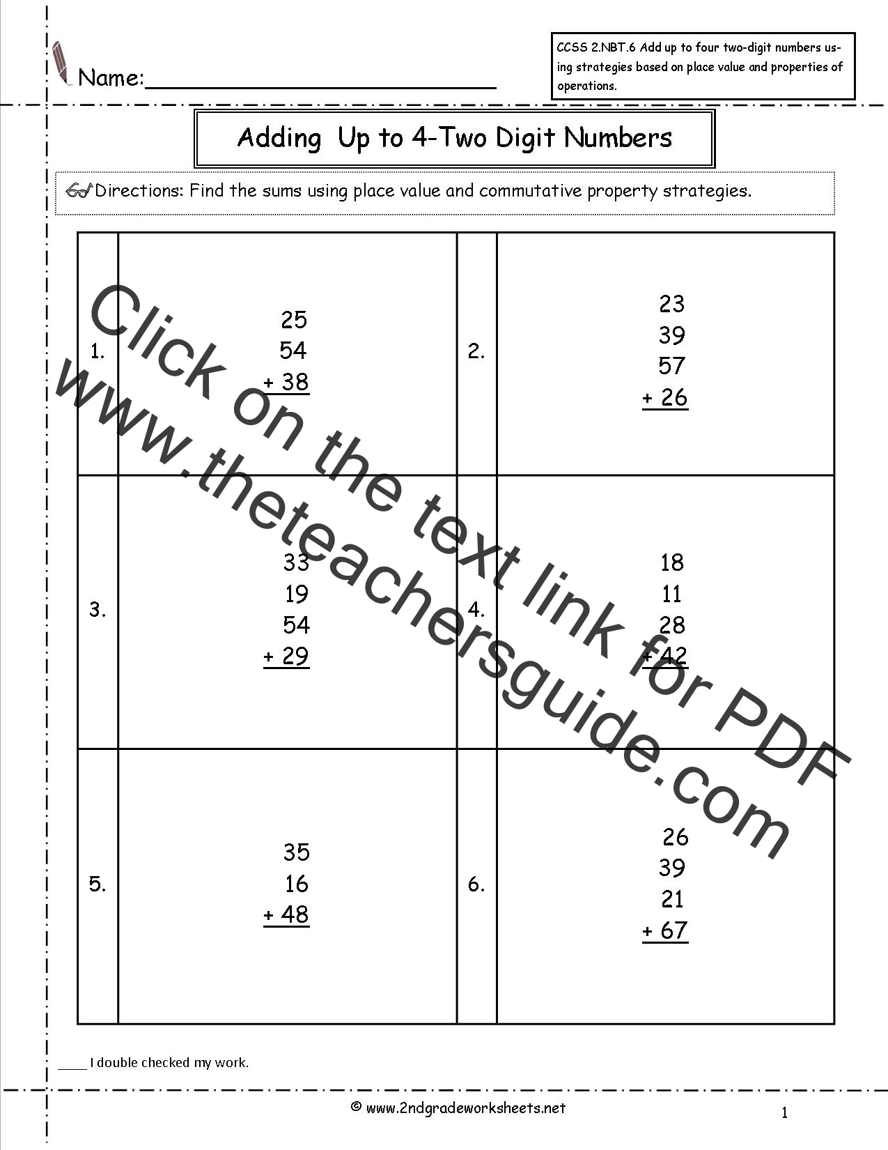 Ccss 2 Nbt 6 Worksheets Adding Up To Four 2 Digit Numbers