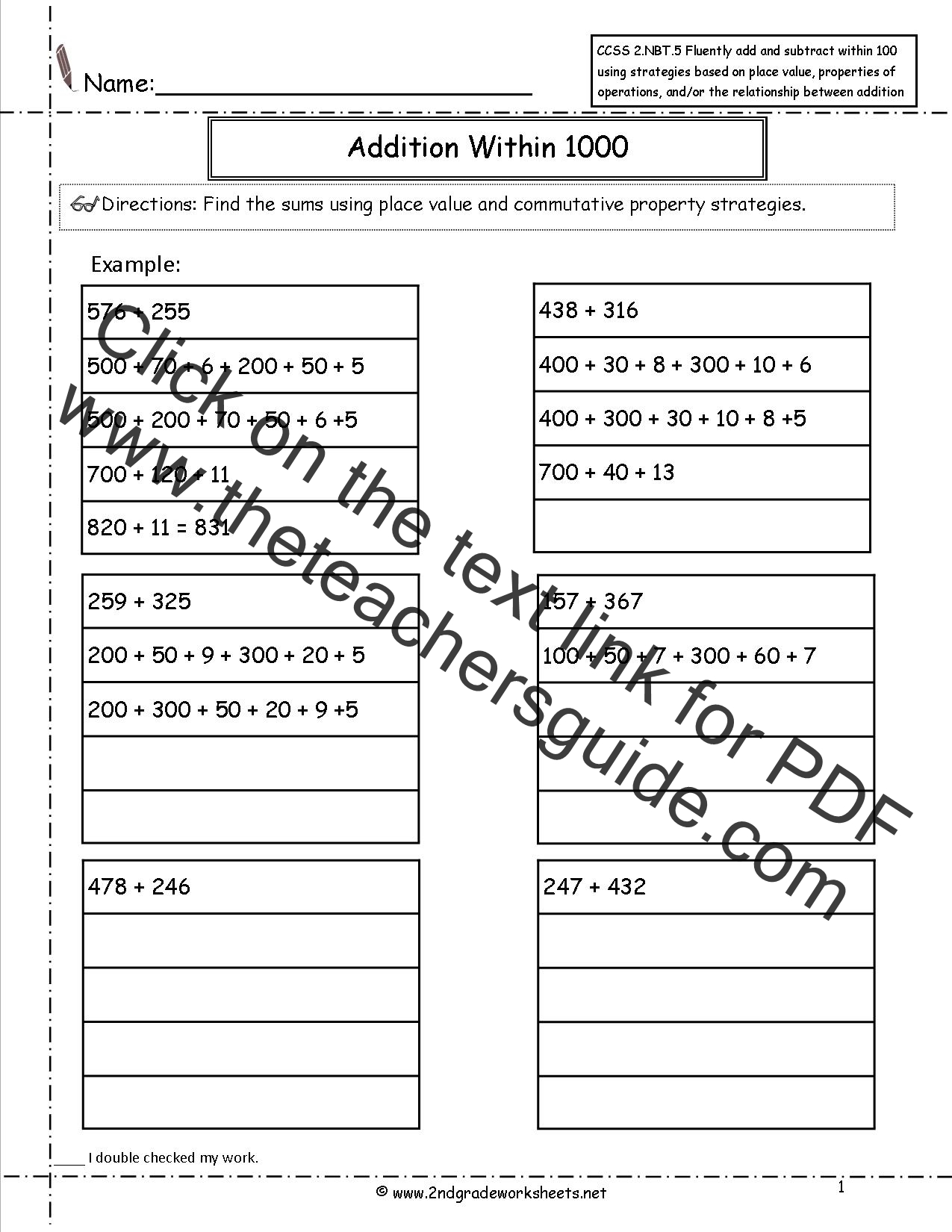 Ccss 2 Nbt 7 Worksheets Addition And Subtraction Within Worksheets
