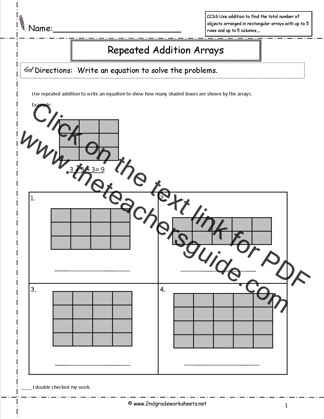 Arrays Worksheet Year 2
