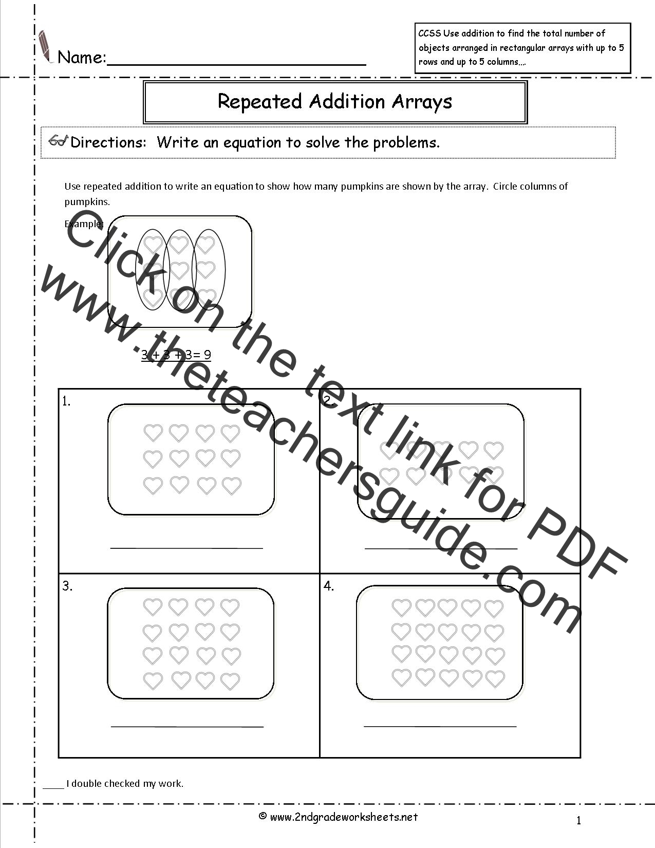 Beginning Multiplication Worksheets Repeated Addition