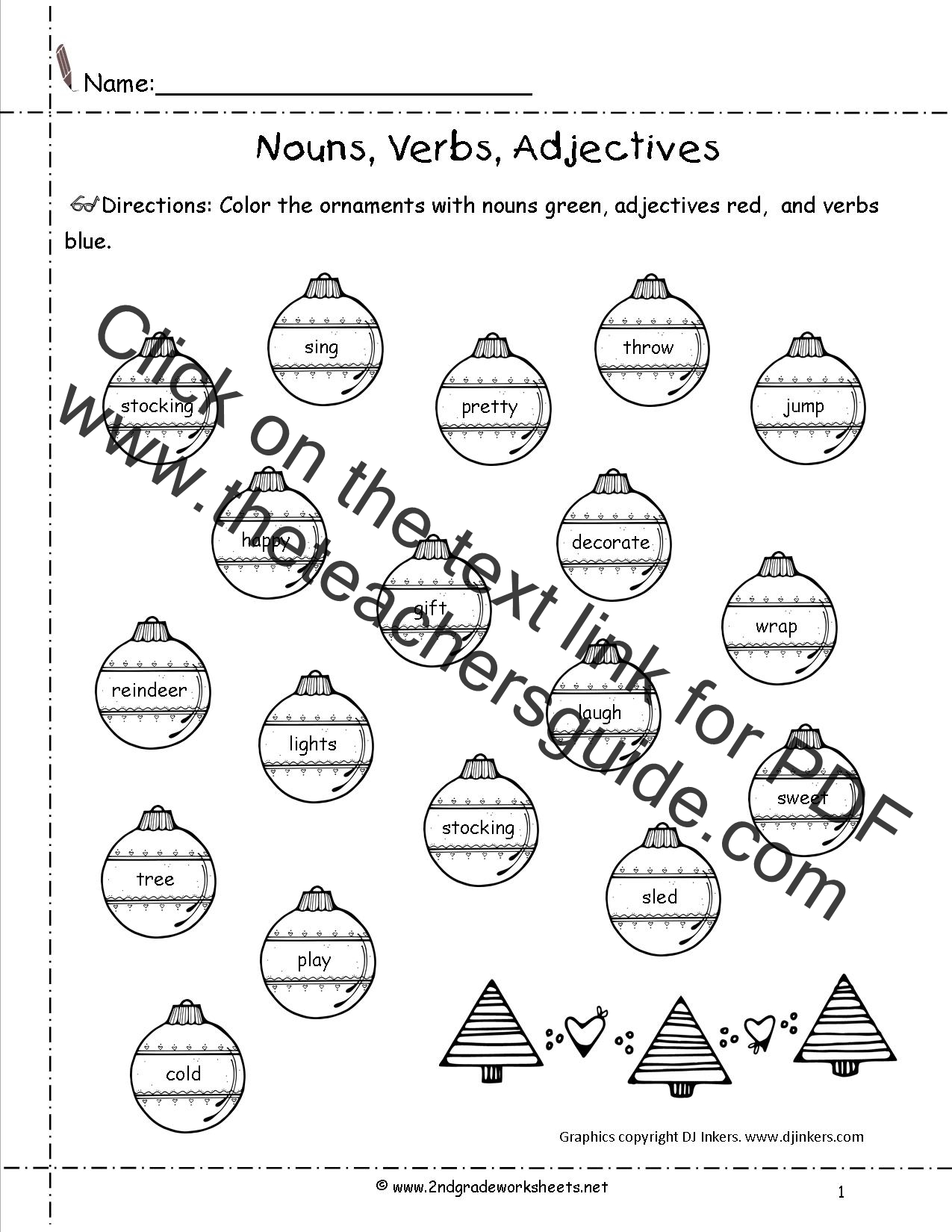 Christmas Worksheet With Nouns Verbs Adjectives