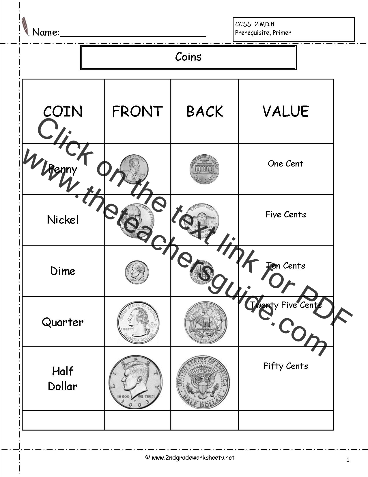 2nd Grade Math Counting Coins Worksheets