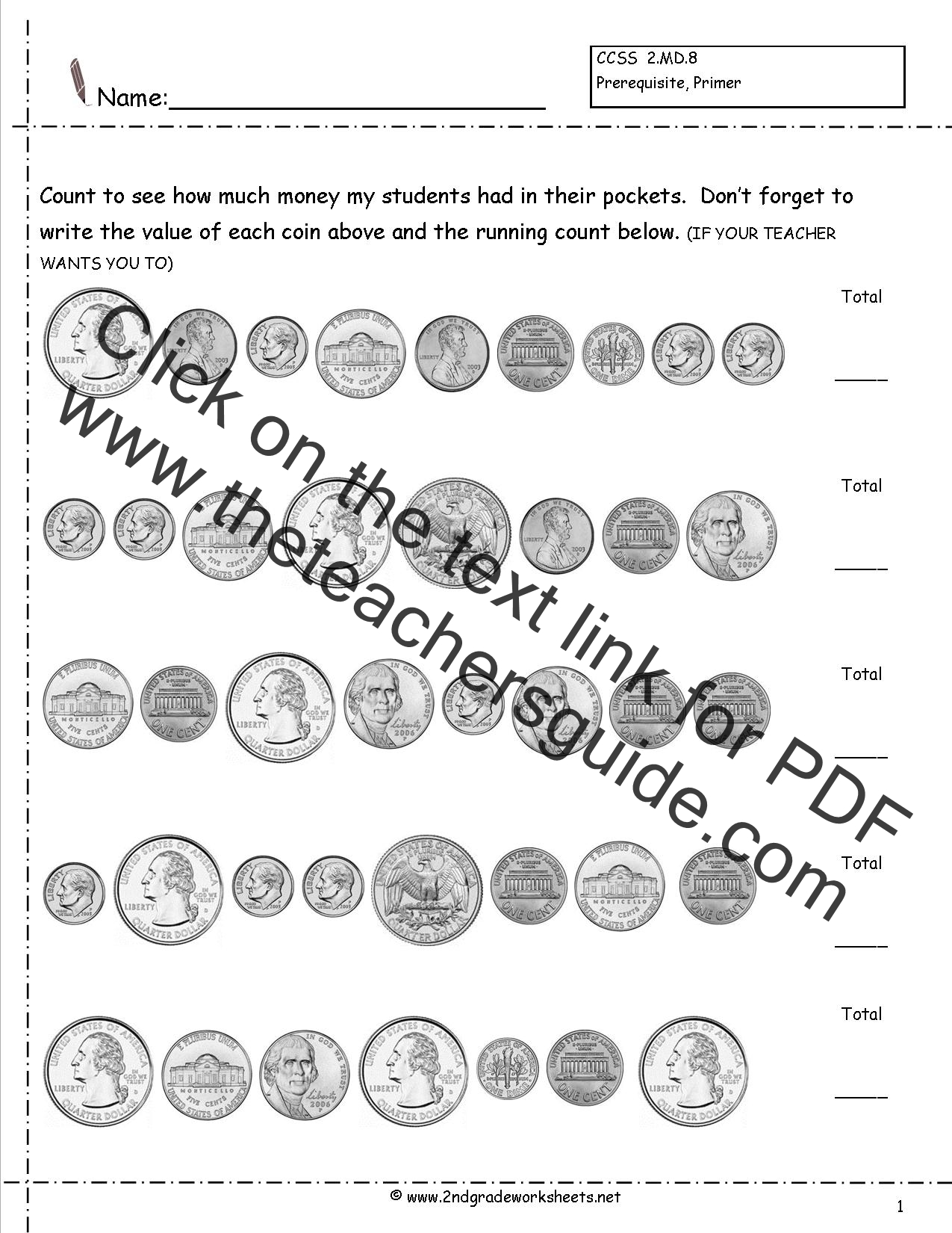 Ccss 2 8 Worksheets Counting Coins Worksheets Money
