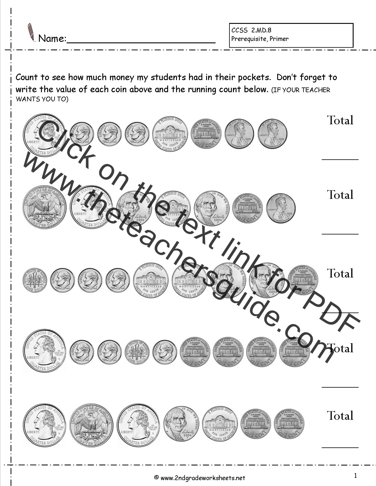 Identifying Us Coins Worksheet