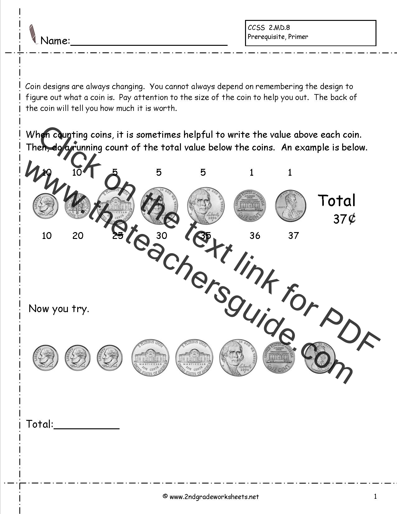 Math Worksheets Coin Values