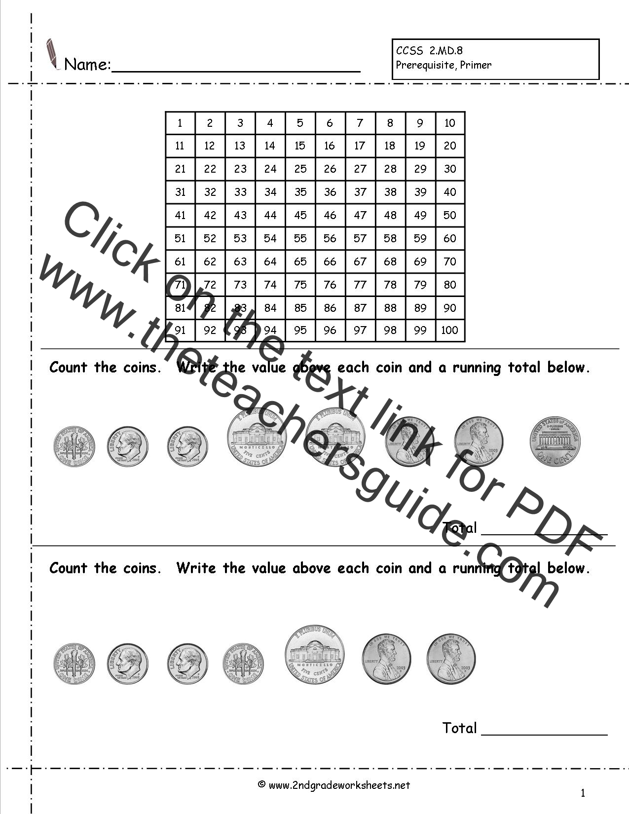 CCSS 2.MD.8 Worksheets, Counting Coins Worksheets, Money