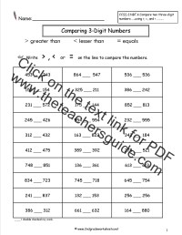 Comparing Two and Three Digit Numbers Worksheets