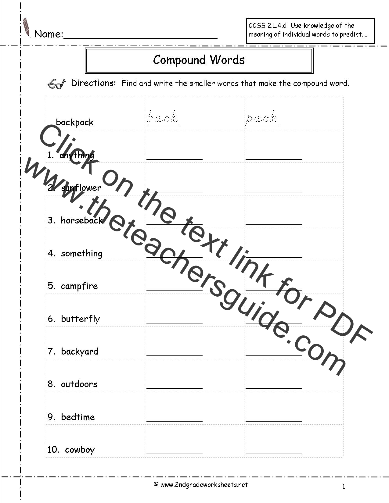 Search Results For Compound Word Worksheets For Second