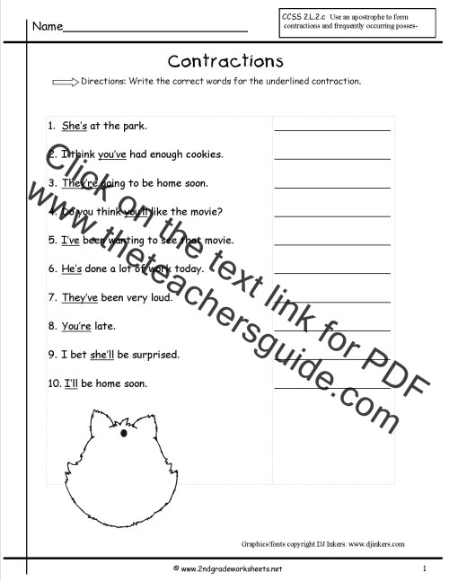 small resolution of Free Contractions Worksheets and Printouts
