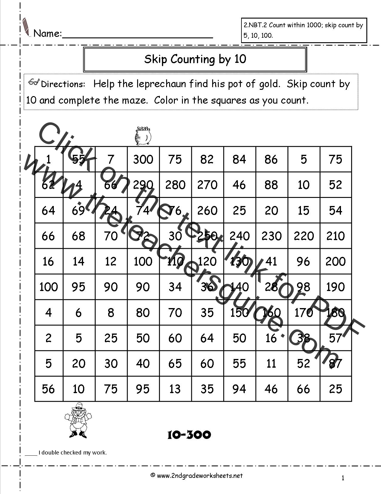 First Grade Math Worksheet On Counting To 120