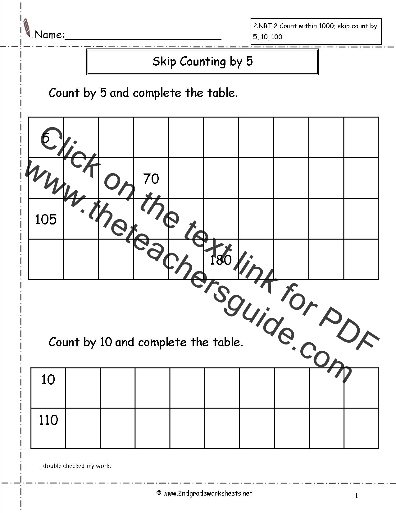 Skip Count By 5s Worksheet