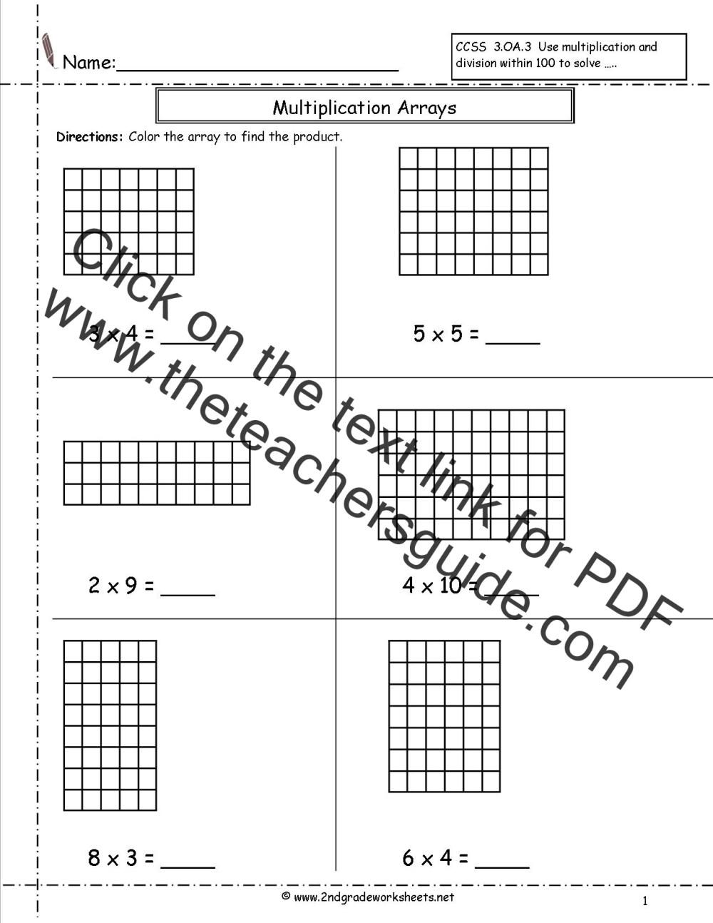 medium resolution of Multiplication Arrays Worksheets