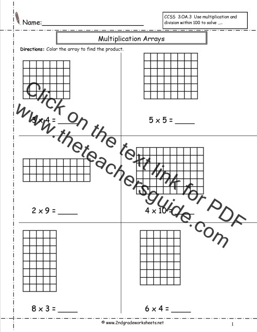 small resolution of Multiplication Arrays Worksheets