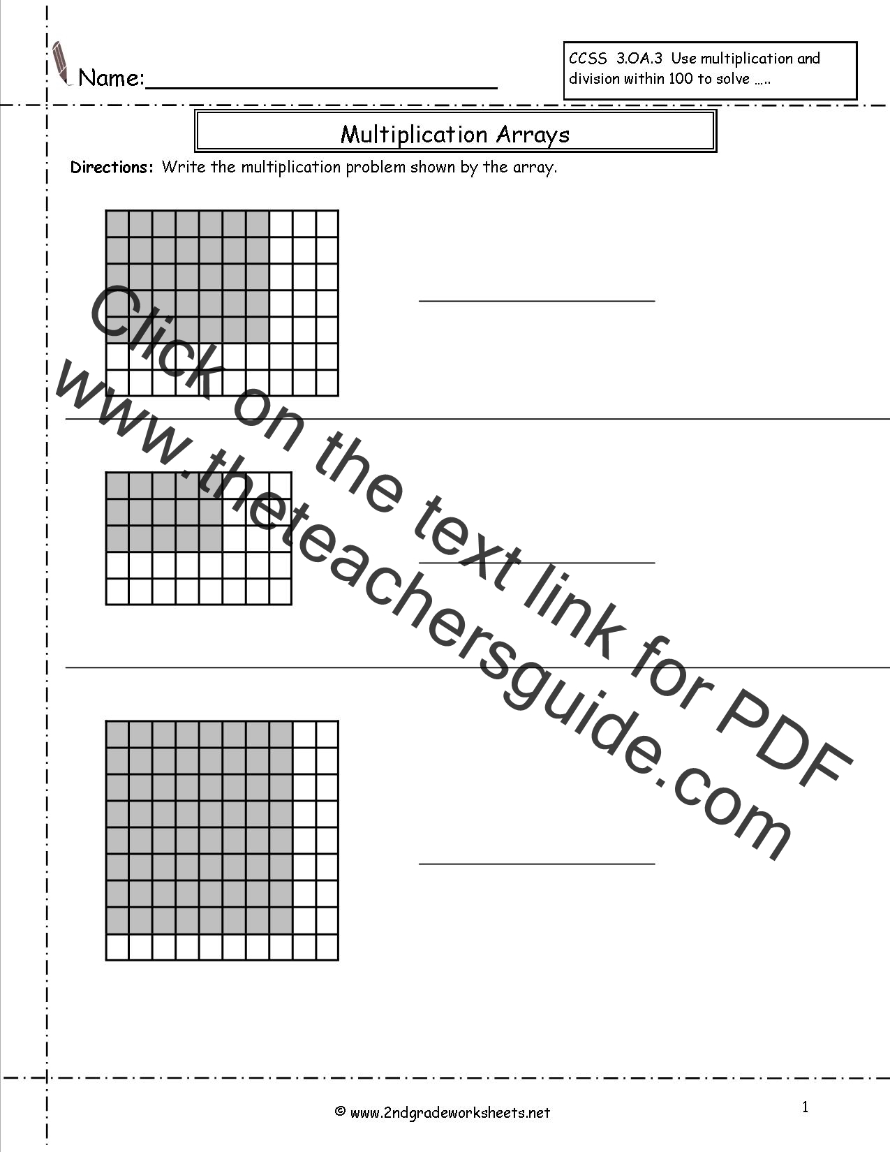 3rd Grade Math Multiplication Arrays Worksheets