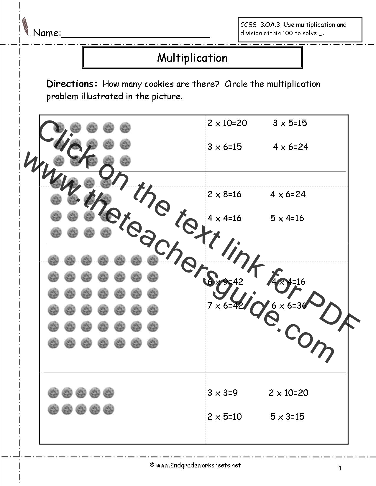 Arrays Worksheets 3rd Grade