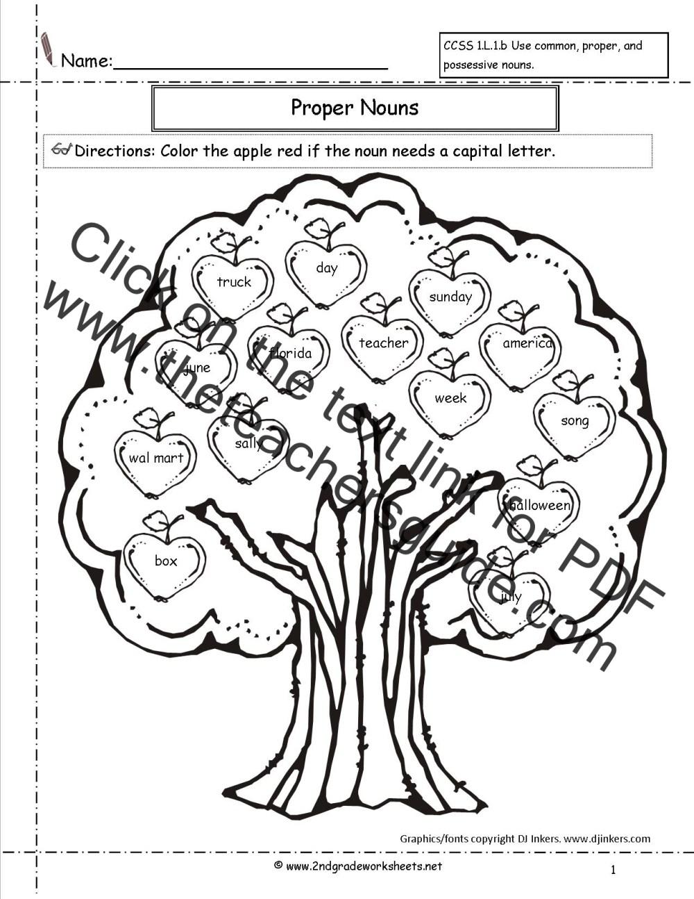 medium resolution of Common and Proper Nouns Worksheet