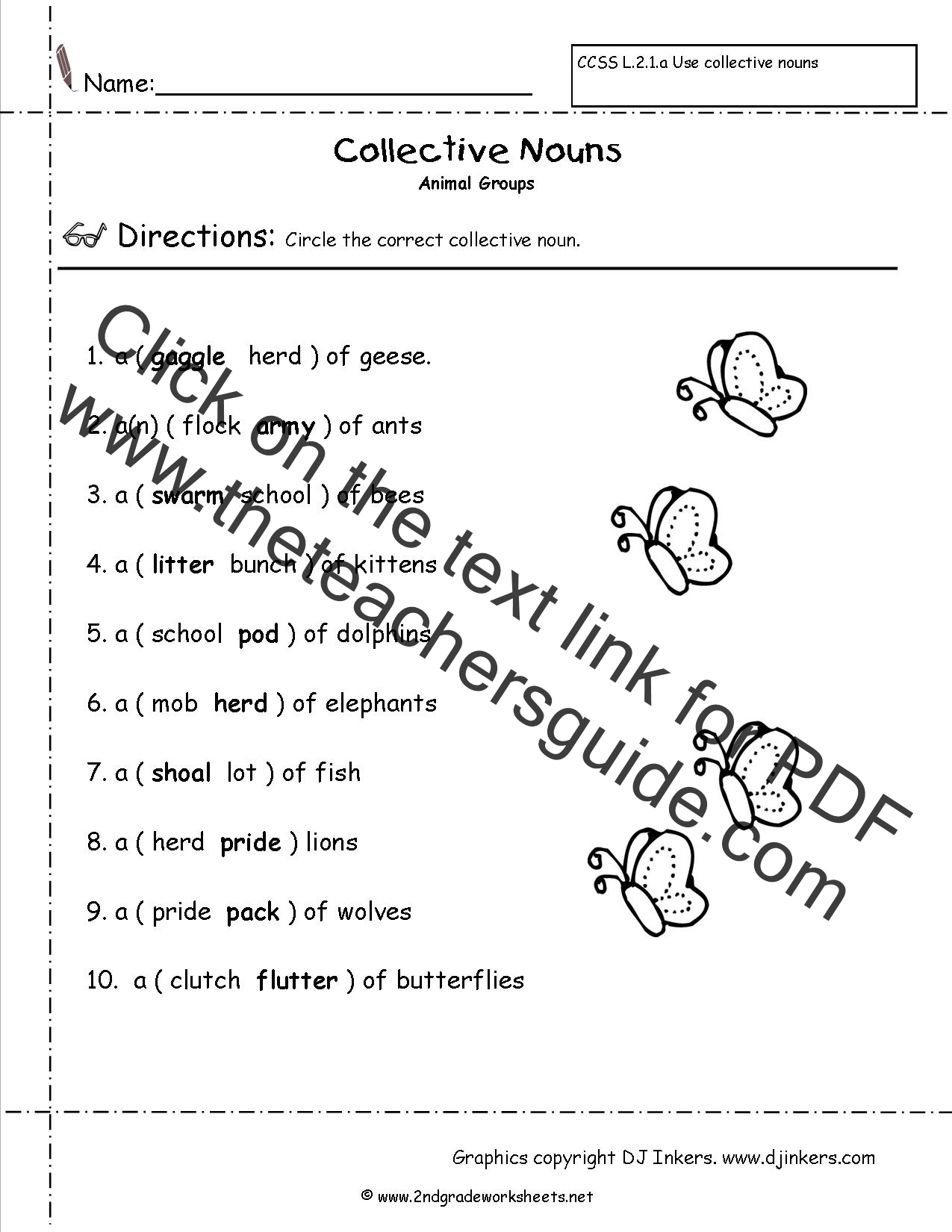 Collective Nouns Worksheet Doc