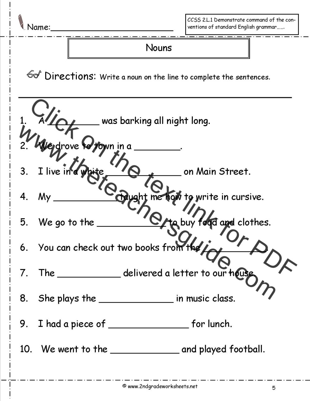 medium resolution of Nouns Worksheets and Printouts