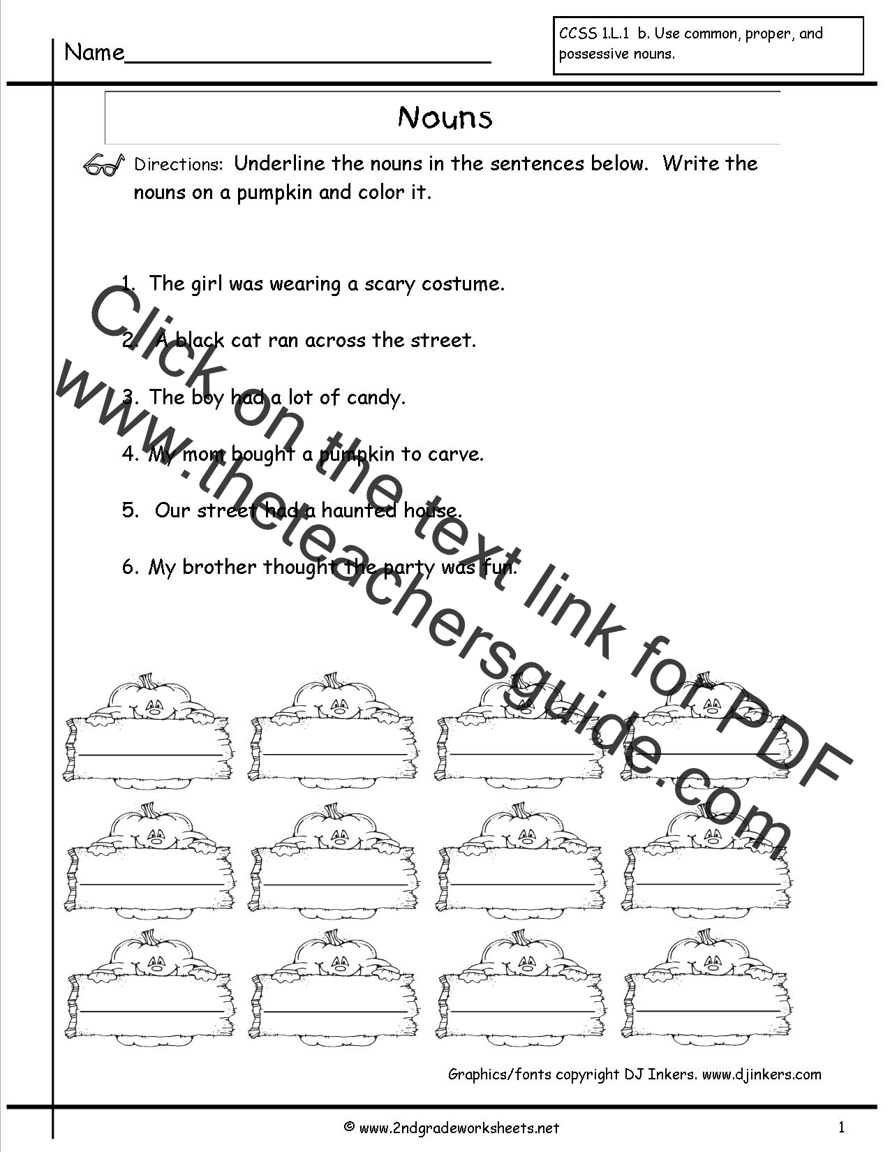 English Noun Worksheet For Class 1