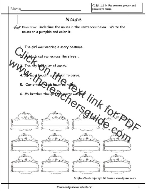 small resolution of Nouns Worksheets and Printouts