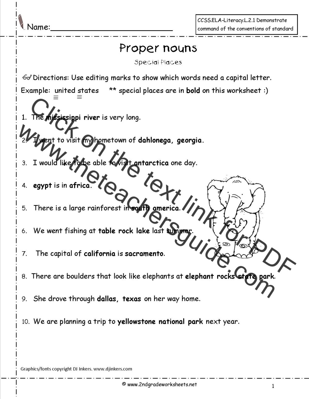 medium resolution of Common and Proper Nouns Worksheet