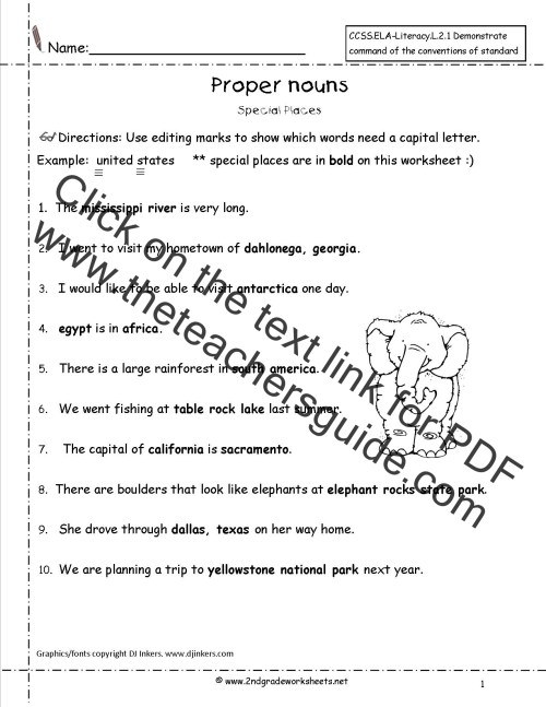 small resolution of Common and Proper Nouns Worksheet