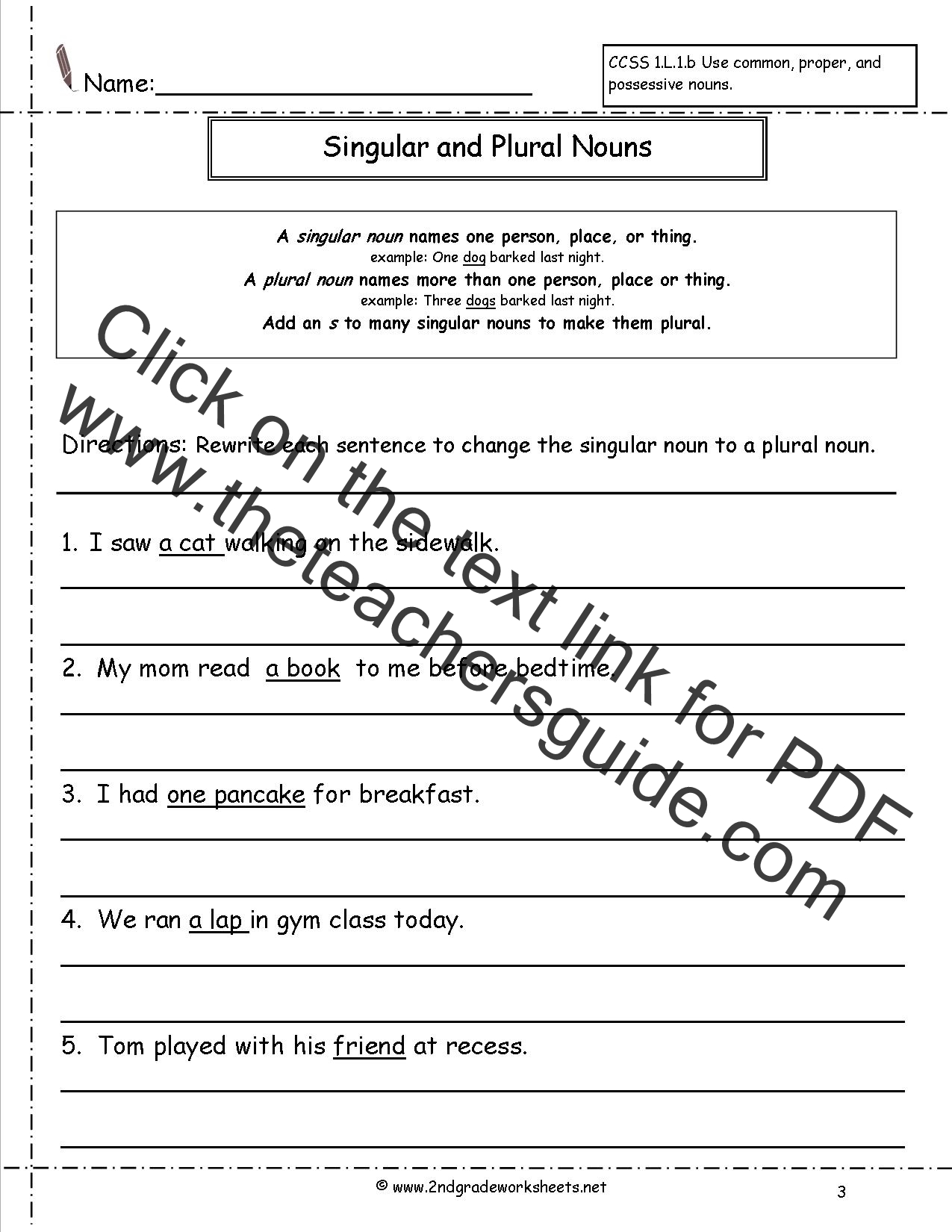 Singular And Plural Nouns Activities For 1st Grade