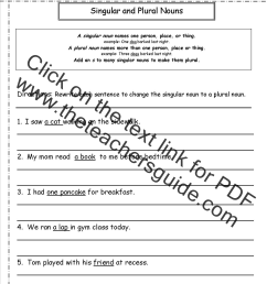 Singular and Plural Nouns Worksheets [ 1650 x 1275 Pixel ]