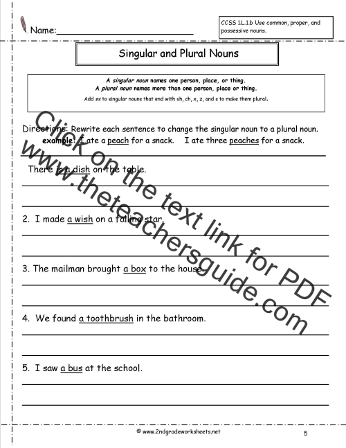 small resolution of Singular and Plural Nouns Worksheets