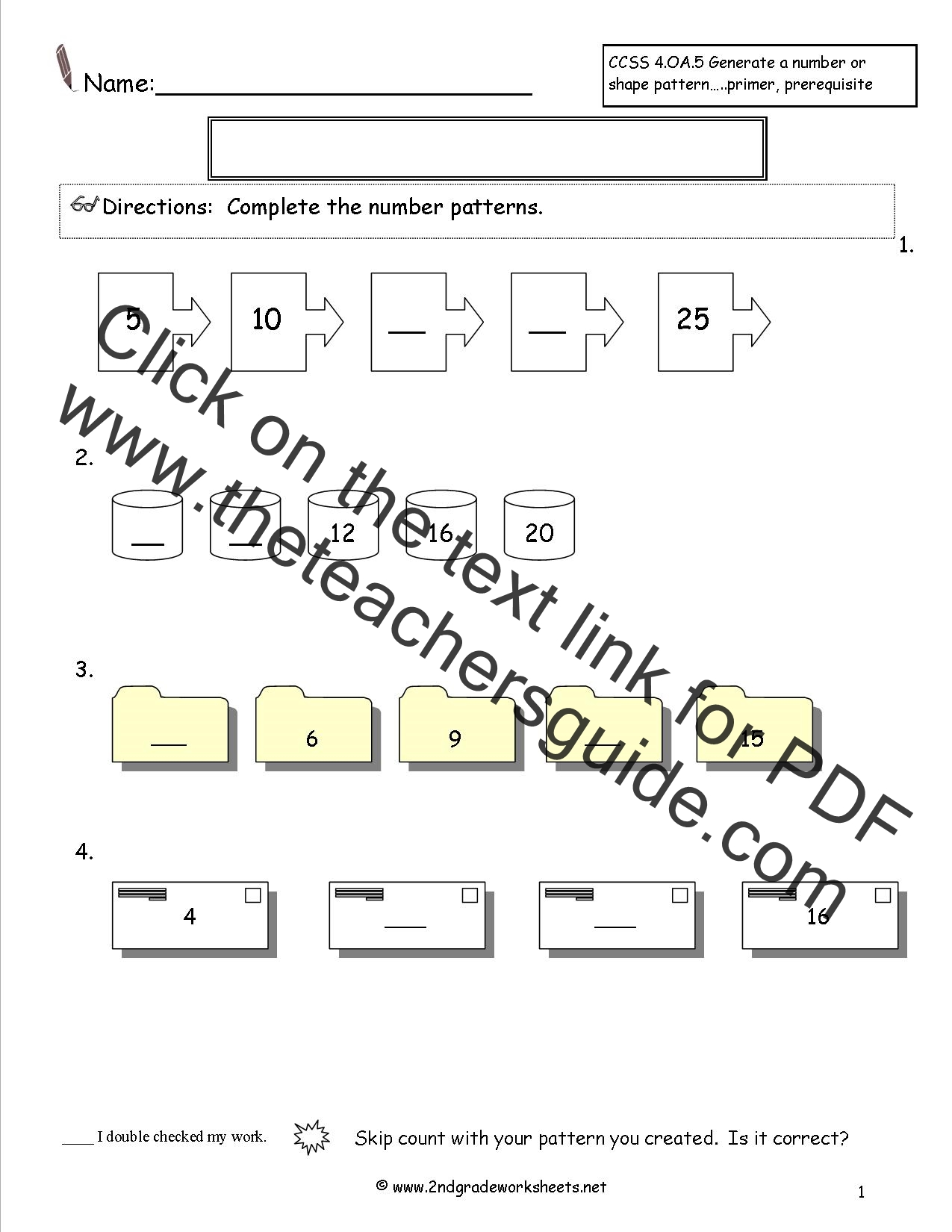 Growing Patterns Worksheet Year 1