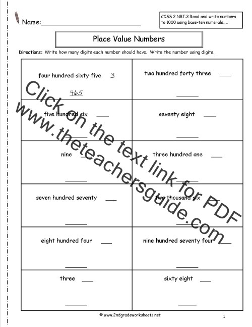 small resolution of Second Grade Place Value Worksheets