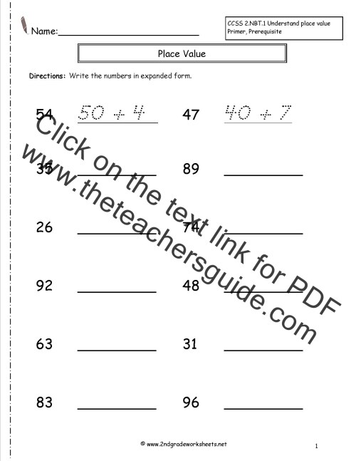 small resolution of Second Grade Reading and Writing Numbers to 1000 Worksheets
