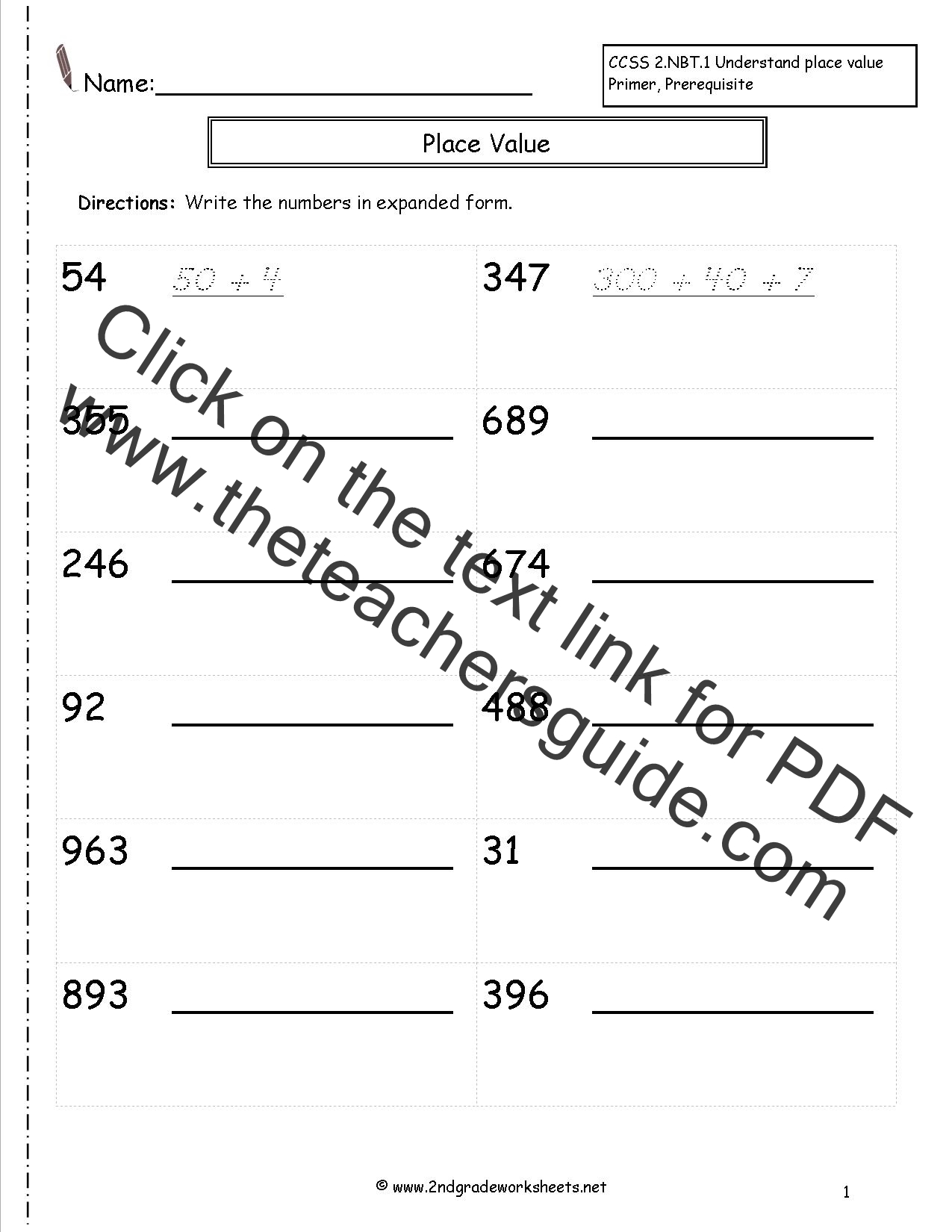 Writing Numbers Worksheet
