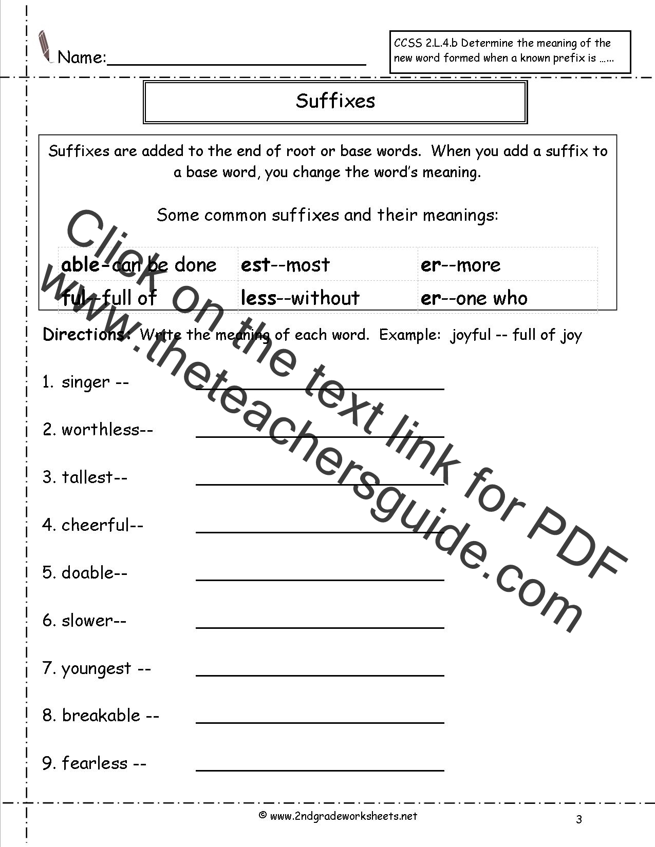 Prefixes For 3rd Grade Worksheet
