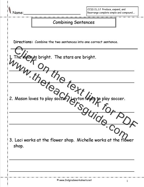 small resolution of Second Grade Sentences Worksheets