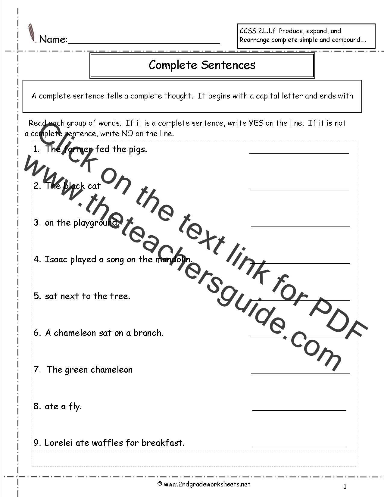 hight resolution of Second Grade Sentences Worksheets