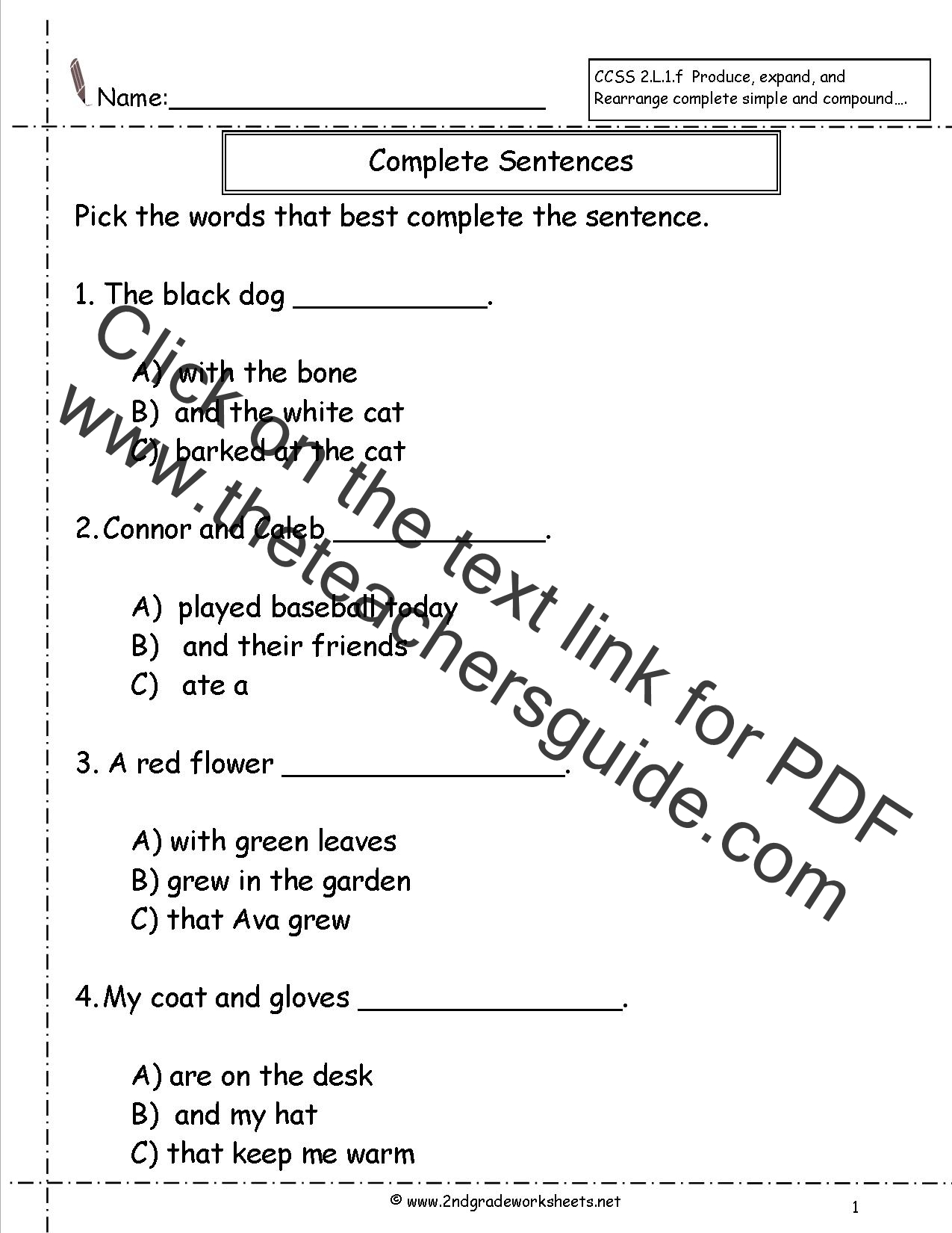 Simple And Complete Predicate Worksheets 4th Grade