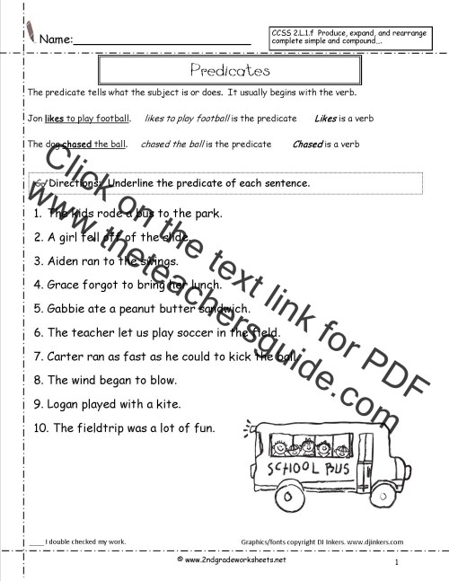 small resolution of sentence worksheet predicates