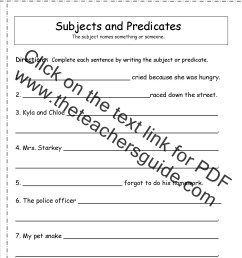 subject and predicate worksheet [ 1275 x 1650 Pixel ]