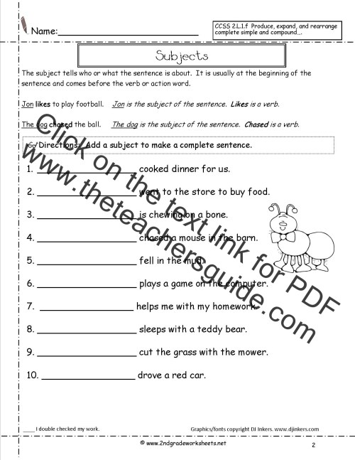 small resolution of Second Grade Sentences Worksheets