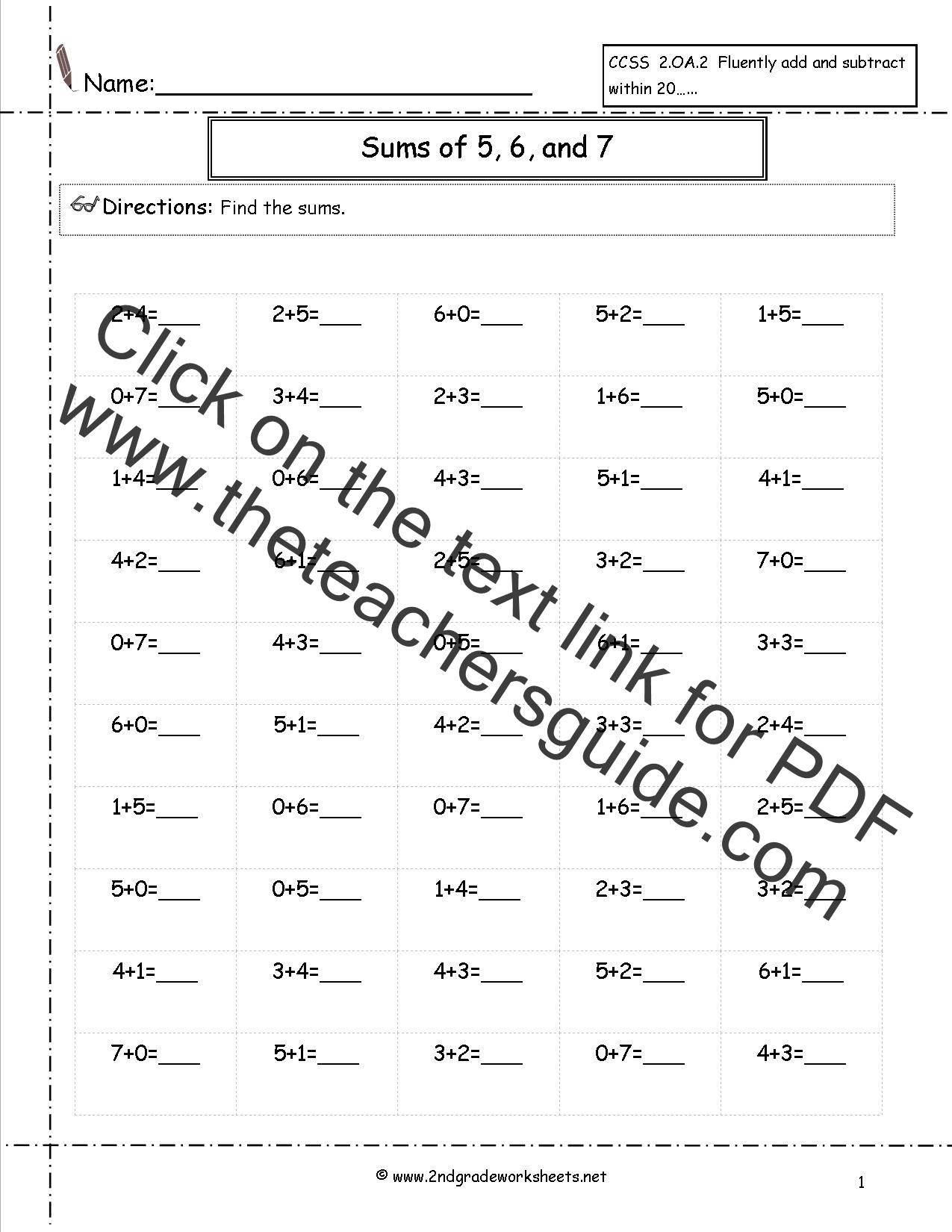 Seventh Grade Addition Worksheet