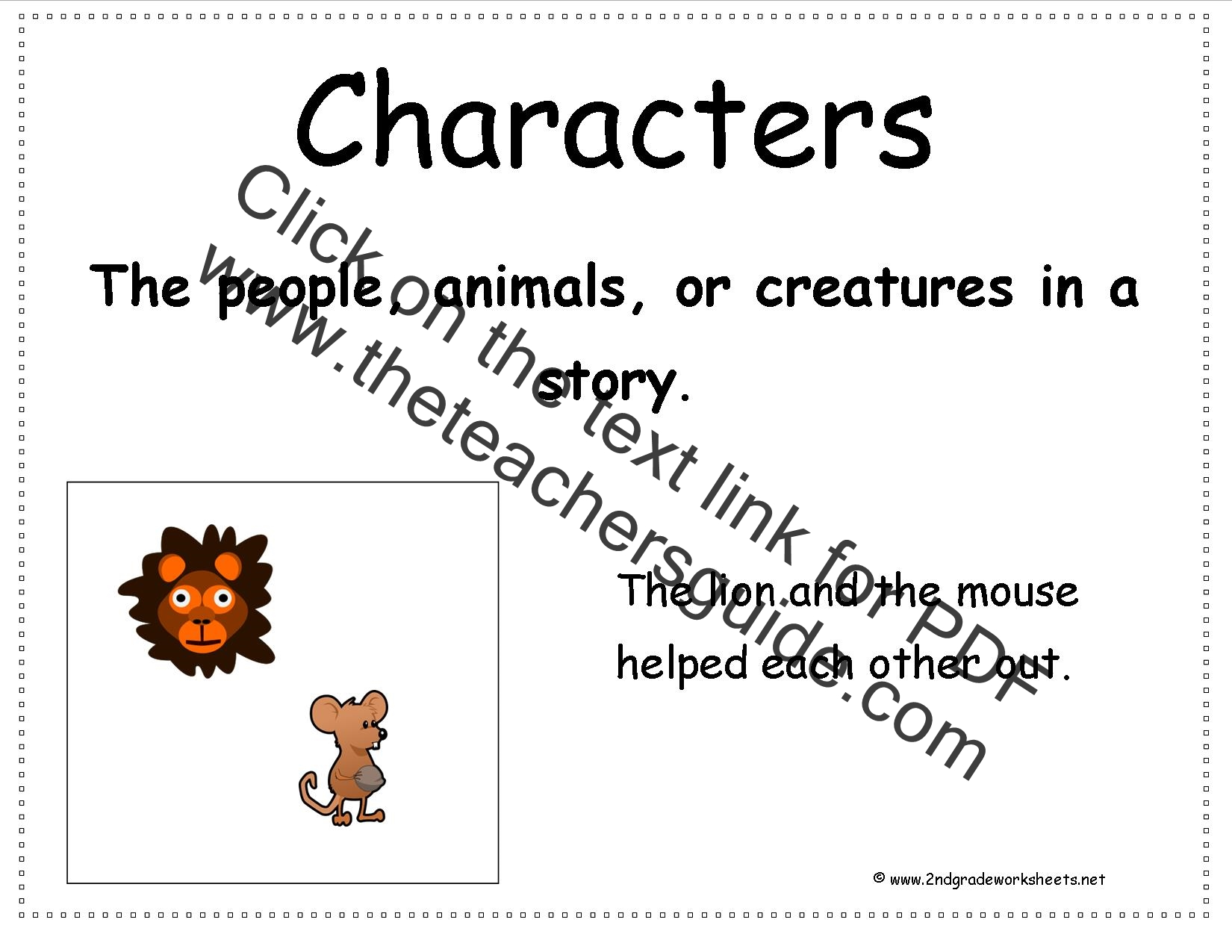 Second Grade Story Element Reference Cards