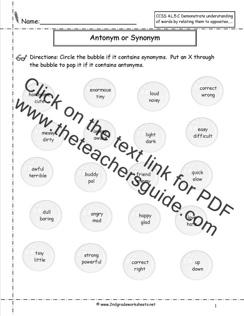 small resolution of Synonyms and Antonyms Worksheets