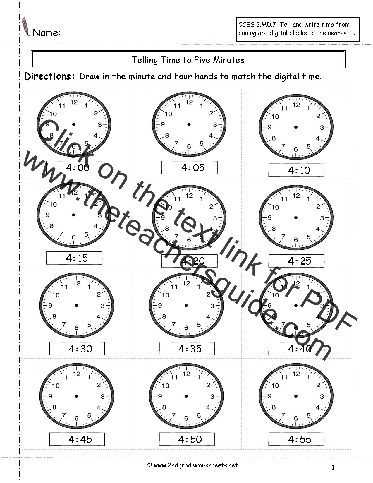 Ccss 2 Md 7 Worksheets Telling Time To Five Minutes Worksheets