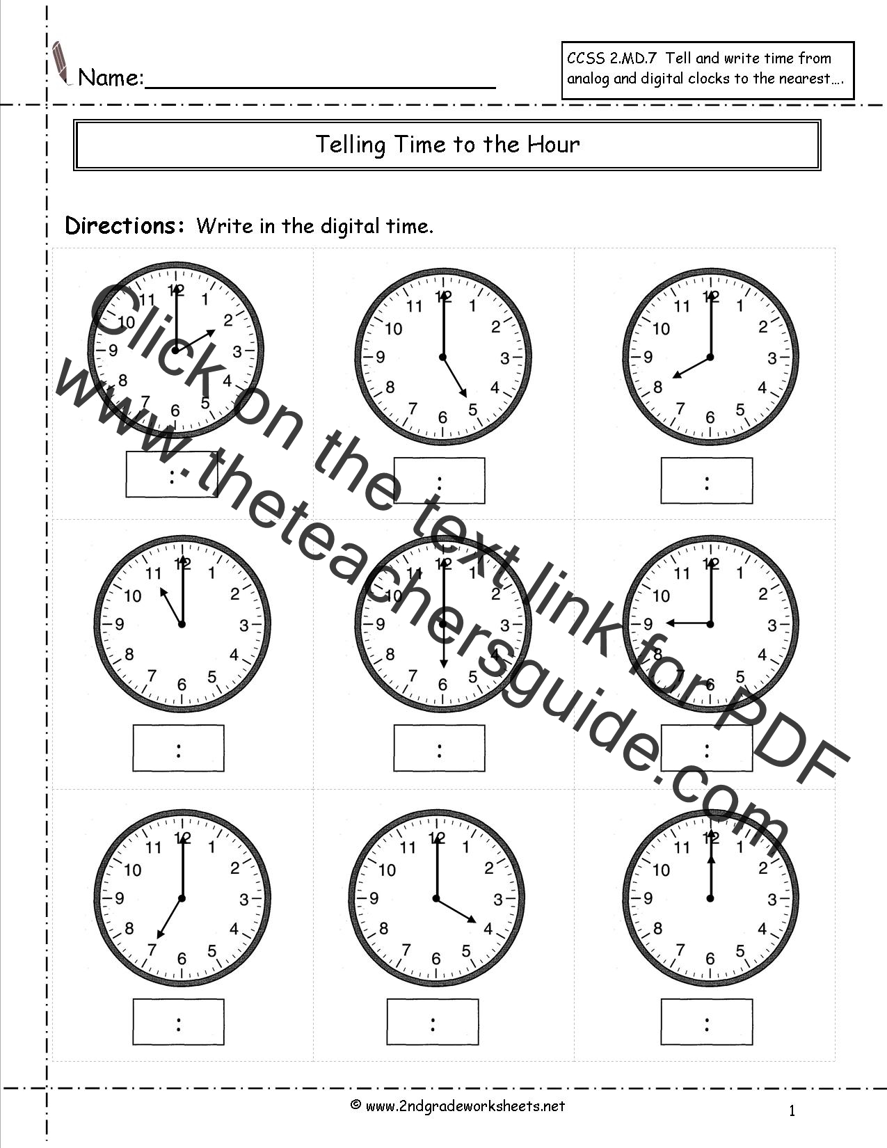 Og Clock Without Hands Worksheets