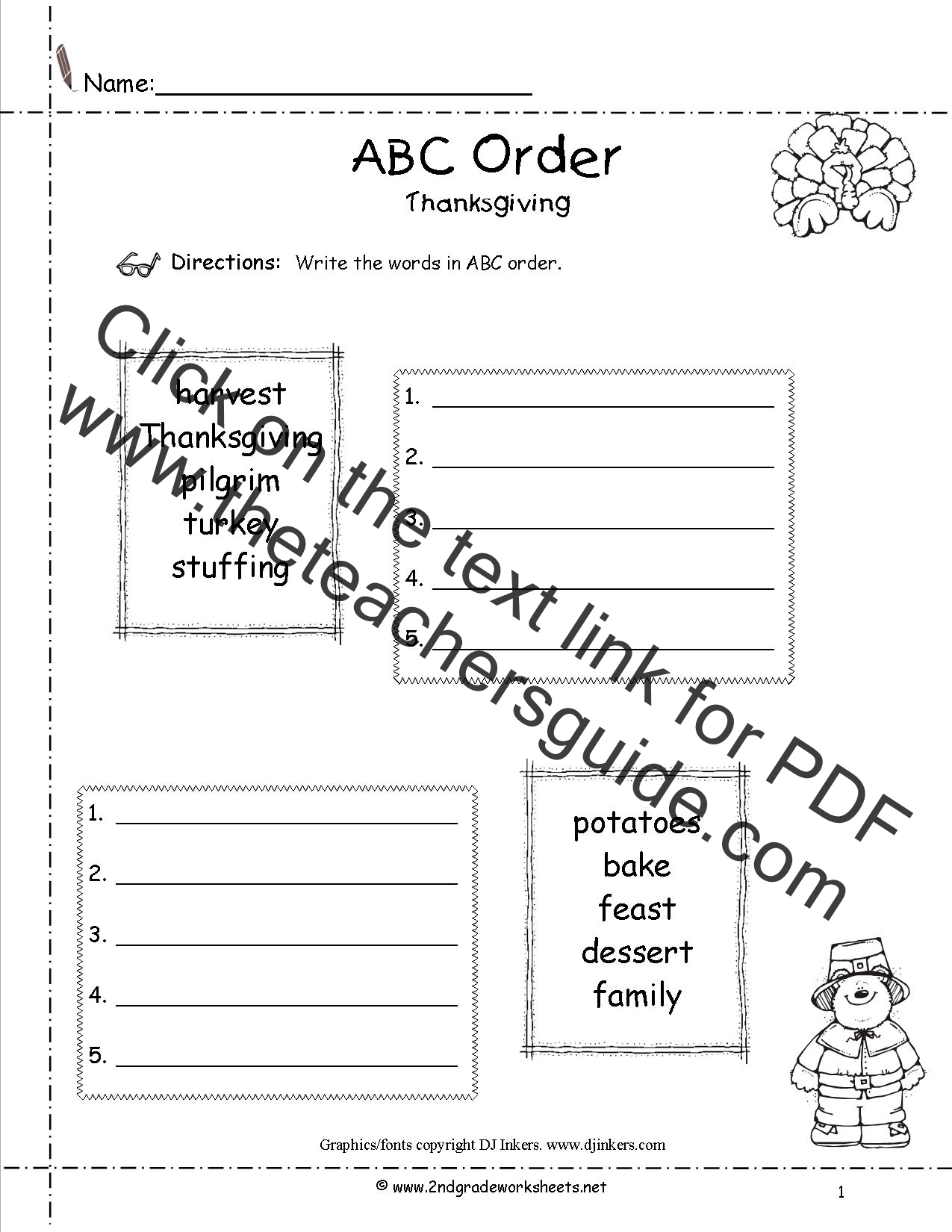 Alphabetical Order Worksheet 2nd Grade