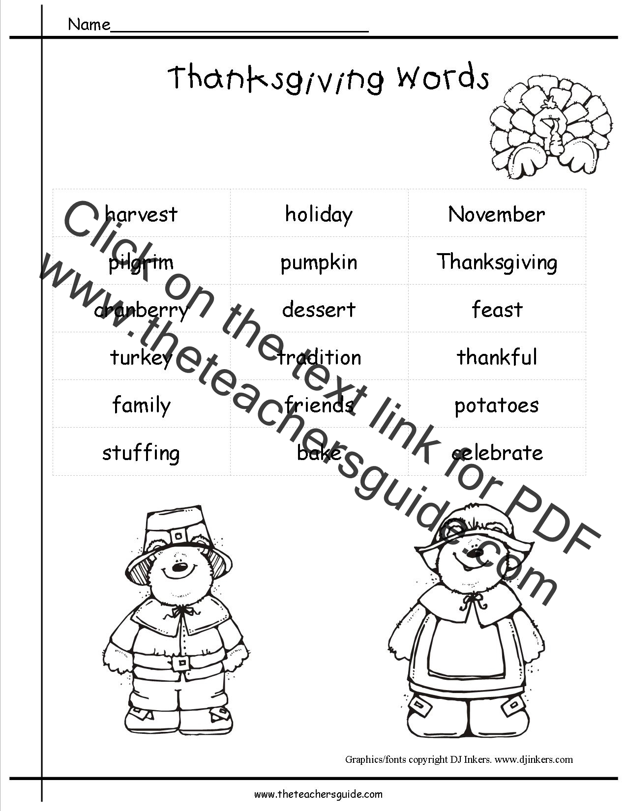 Thanksgiving Elementary Worksheet