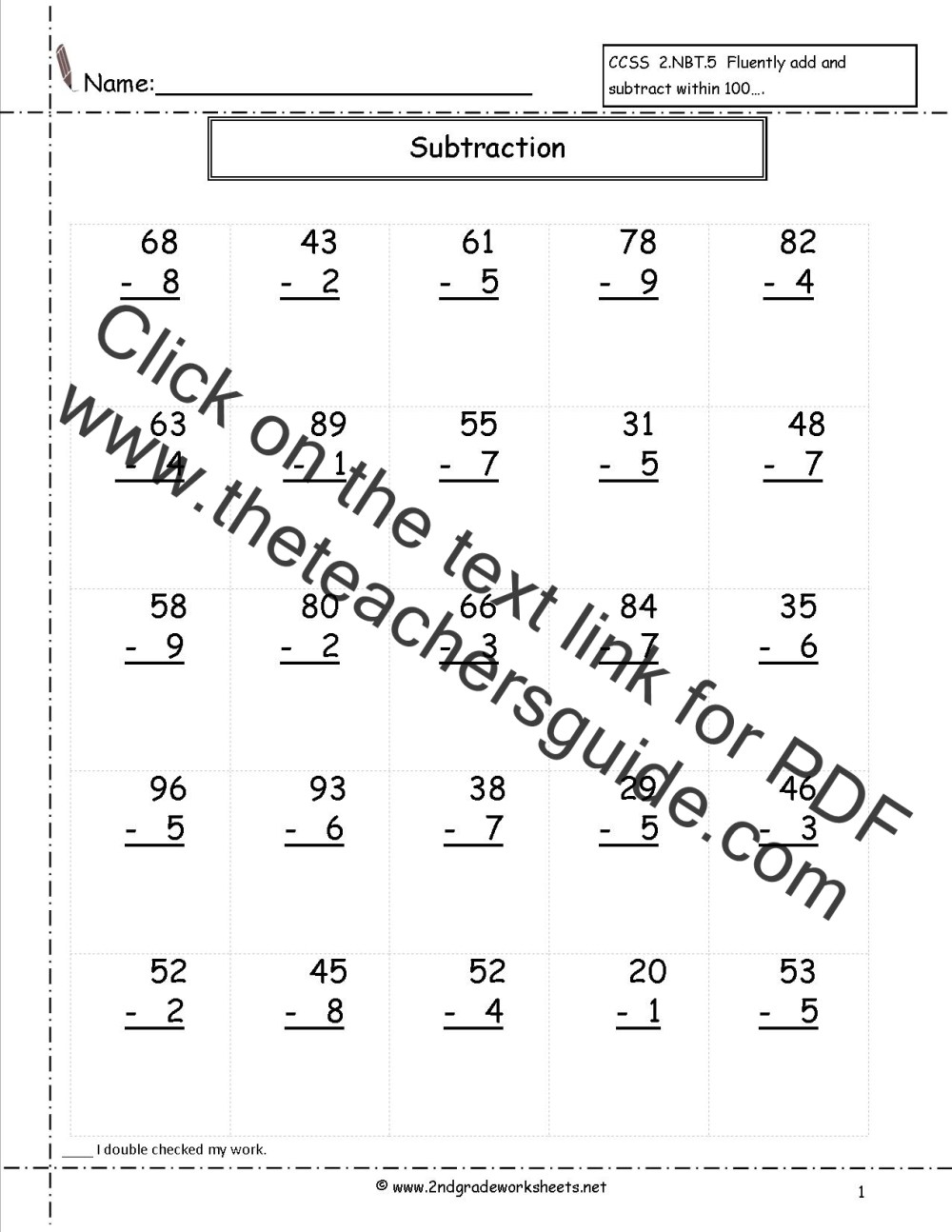 medium resolution of Two Digit Subtraction Worksheets